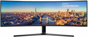 SAMSUNG C49J890, Ecran PC Gaming Incurvé 1800R, Ultra-Large, Dalle VA 49″, Résolution Double Full HD (3,840 x 1,080), 144 Hz, 5ms, Noir