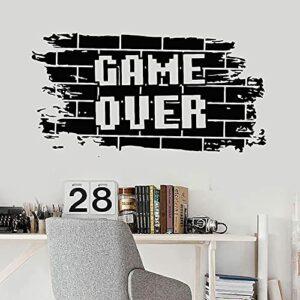 Hesuz Stickers muraux Noir 57×111 cm Game Over Sticker Briques Gaming Ados Garçons Chambre Salle de Jeux Jeux Vidéo Décor À La Maison Porte Fenêtre Autocollants en Vinyle Mural