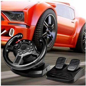 LILIS Volant de course pour PC Racing Wheel pour PS3 / PC (entrée D-/ X-Input), avec pédales au sol, mode analogique et numérique, retour de vibrations avec jeu, volant Smart Mini Gaming