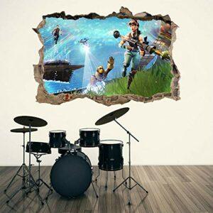 stickers muraux chambre Jeu vidéo 3d trou brisé sticker mural autocollant bricolage graphiques muraux Autocollants muraux 50 * 70CM