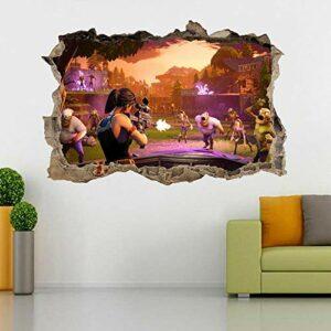 stickers muraux chambre Jeu vidéo de combat 3D trou brisé sticker mural autocollant bricolage mural Autocollants muraux 50 * 70CM