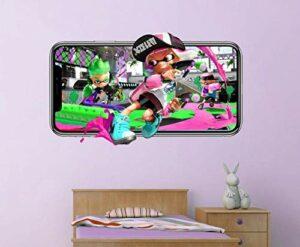 stickers muraux chambre Splatoon sticker mural jeu vidéo mobile autocollant décoration vinyle mural 3d chambre d'enfants Autocollants muraux 50 * 70CM