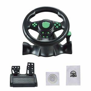 BIUDUI Volant De Course Driving Force Gaming Volant De La Série Xbox Volant Racing en Cuir avec Pédale pour Volant De Jeu XBOX-360 / PS3 / PS2 / PC Volant De Vibration D'ordinateur USB