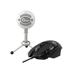 Blue Microphones SNOWBALL/TW Blue Microphones USB Microphone + Logitech G502 HERO Souris Gamer Filaire Haute Performance, Capteur Gaming HERO 25K, 25 600 PPP, Poids Ajustable, 11 Boutons Programmables
