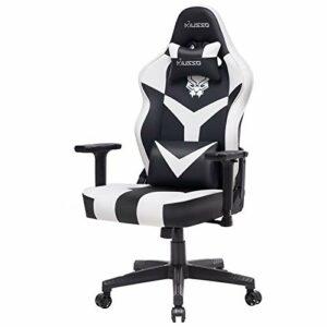 Chaise de jeu réglable avec broderie Panthère pour gamer Esports, chaise de jeu vidéo de course pour adultes, grande taille, en cuir PU, chaise de bureau de direction à haut dossier (blanc)