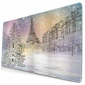 CONICIXI Tapis de Souris Gamer Image d'hiver d'une journée d'hiver orageuse dans Les Rues idylliques de Paris Tour Eiffel Paysage d'europe Protecteur de Bureau pour Ordinateur Portable