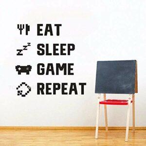 Décor à la maison Gamer Quote Sticker Mural Enfants Chambre Murale Murale Jeu Amant Manger Sommeil Jeu Amovible Vinyle Autocollant 42X43 CM 622 Noir
