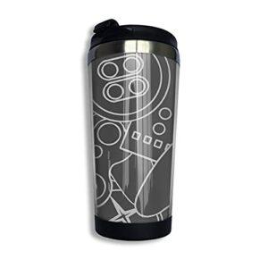 DJNGN Contrôle Freak Grey jeu vidéo Nerd café tasse de voyage tasse Double paroi en acier inoxydable isolé sous vide gobelet tasses 13,5 oz
