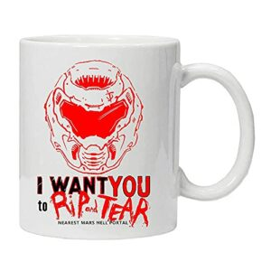 Doom Classic Slayer Horror Vintage I Want You to Rip and Tear Doom Mug Eternal Coffee Tasse à café pour jeu vidéo Blanc