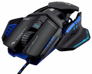 DragonWar Phantom 4.1 Souris gamer Filaire – Laser – 9500 Dpi – 4 Vitesses (1000/2400/4000/9500) Dpi – RGB – 7 Boutons programmables – Taille réglable – Câble 1,8 m – PC – Ergonomique – Noir Bleu