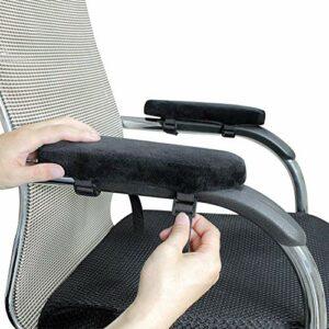 HANHAN Lot de 2 coussins d'accoudoirs pour chaise de bureau ou de gaming en mousse à mémoire de forme de qualité supérieure – Soulage les douleurs – Velours épais et doux – Housse amovible