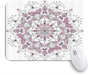 HARXISE Tapis de Souris Gaming,Lacy Pastel Floral avec Motif de méditation de Chiffres de Papillon et de Lotus,sous-Main Bureau Gamer en Tissu,Base antidérapante,Précision,Vitesse et Confort