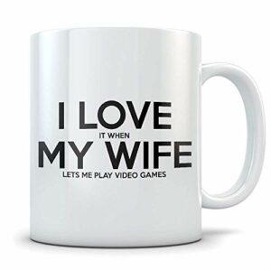 Idée de cadeau de mari de joueur blanc – tasse de café de jeu vidéo drôle pour les hommes mariés ou engagés – cadeau de Gaming Gag pour