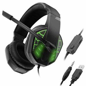 Kaper Go Casque 3,5 Mm + USB Gaming Headset, Stereo Surround Casque avec Réduction du Bruit Microphone Et Effet Lumineux for PC De Bureau Ordinateur Portable (Color : Green)