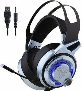 Kaper Go Casque 7.1 Basse Casque Stéréo, PC Gaming Headset Noise Cancelling Virtual Surround Sound HD Microphone Et LED De Couleur Lumières USB Plug Gamer Headset