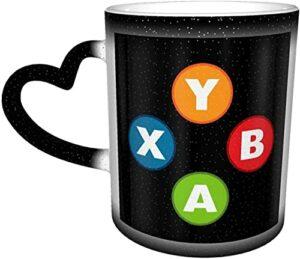 MENYUAN Tasses à café contrôleur de Jeu vidéo Tasse à Changement de Couleur Sensible à la Chaleur dans Le Ciel Tasse en céramique Cadeaux personnalisés pour Les Amis de la Famille