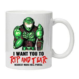 Mug Doom Slayer I Want You to Rip and Tear Game Doom Mug Eternal Coffee Tasse à café pour jeu vidéo Blanc