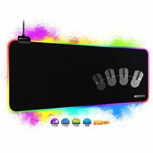 RGB Tapis de Souris Gaming – Grand Tapis de Souris XXL 800x300mm avec 14 Modes D'éclairage, RGB Tapis de Souris Gamer avec port USB étanche et antidérapant, pour Ordinateur Portable, PC, et Gamer