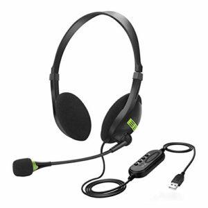 RUSTOO Casque Filaire, Casque stéréo avec Microphone antibruit pour Jeu vidéo Écouteur Filaire, USB, Commandes en Ligne, PC/Mac/Ordinateur Portable