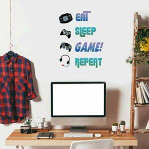 Sticker Muraux Gamer,Autocollant Muraux Eat Sleep Game Repeat,Jeu Vidéo Décoration pour Garçons Chambre,Amovible Sticker Mural Gamer,Autocollants Mural Gamer Coloré pour Salle de Jeux Chambre D'enfant