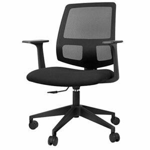 SunJas Chaise de Bureau Ergonomique Confortable Chaise Gamer Pivotant Siège Fauteuil de Bureau Réglable en Hauteur – Noir