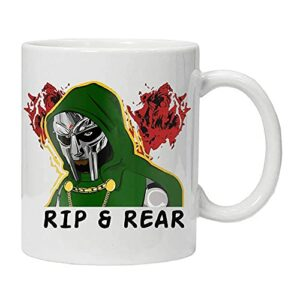 Tasse à café Doom Slayer Rip and Tear – Jeu vidéo – Blanc