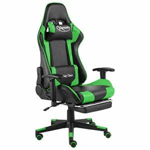 Tidyard Chaise de Jeu Pivotante avec Repose-Pied, Chaise de Bureau Pivotant, Fauteuil de Jeux Vidéo Fauteuil Gamer Vert PVC