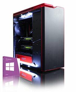 VIBOX Legend 5Gaming PC avec Jeu War Thunder, 4.4GHz Intel i7Quad Core Processeur, 2x Nvidia Geforce GTX 980Ti SLI Carte Graphique, 3to Disque Dur, 16Go RAM, Case NZXT H440, Noir/Rouge