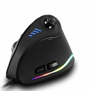 Winnes Gaming Mouse, Souris verticale pour PC 10000 DPI avec éclairage RGB Design ergonomique Souris optique pour radio Prend en charge le montage de macros avec basculeur 5 directions Compatible Wind