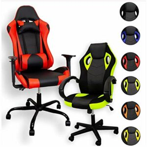 ZStyle Chaise de gaming pour bureau, jeux vidéo, inclinable, rembourrée, ergonomique, bureau, ordinateur Playstation RTX GTX (GTX, orange)