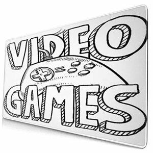 Alvaradod Tapis de Souris Mignon,Conception de Typographie de Jeux vidéo de St,Tapis de Souris rectangulaire en Caoutchouc antidérapant pour Ordinateur de Bureau,Tapis de Bureau Gamer,15,8″x 29,5″