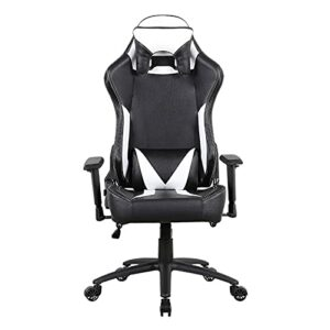 Chaise de gaming ergonomique, chaise de bureau pour jeux vidéo, dossier haut réglable, style course avec appuie-tête et soutien lombaire