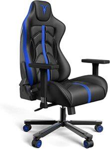 Chaise Gaming de Bureau Chaise de Course, 4D réglables en Cuir PU Fauteuil Ergonomique pivotant, siège à roulettes avec Dossier inclinable Game Chair (Black&Blue G)