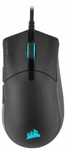 Corsair SABRE RGB PRO CHAMPION SERIES Souris Gaming (Forme Ergonomique pour l'esport, Poids Plume de Seulement 74 g, Câble en Paracorde Flexible, Boutons CORSAIR QUICKSTRIKE sans Interstice) Noir
