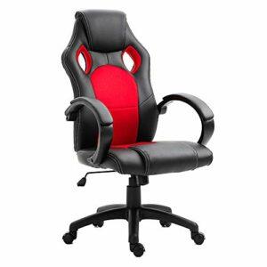 DEWINNER Chaise de Gamer Ergonomique Fauteuil de Bureau Siège Baquet Gaming (Rouge)
