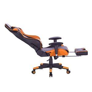 E-Sports Chaise de jeu vidéo ergonomique réglable avec accoudoirs rembourrés pivotants et dossier haut avec appuie-tête et soutien lombaire en cuir