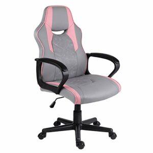 EUCO Chaise de Bureau,Chaise Gamer Ergonomique,Comfortable Chaise en Similicuir avec Fonction d'inclinaison et Accoudoirs, Chaise PC réglable en Hauteur avec Chaise d'ordinateur Pivotant 360 degrés