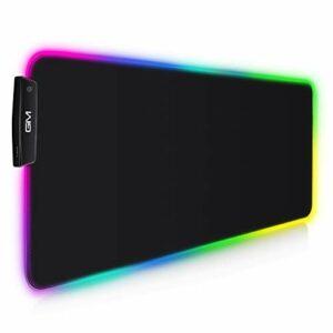 GIM Tapis de Souris de Gaming RGB LED 800 x 300 mm XXL 14 Modes d'éclairage et 10 Couleurs Tapis de Souris étanche Antidérapant