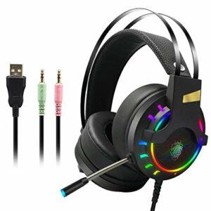 Greatangle-UK Casque de Jeu de Profession Casque de Jeu de Basses Profondes avec Microphone pour Ordinateur Gamer 3.5/7.1 Canal USB Noir 3.5 Interface
