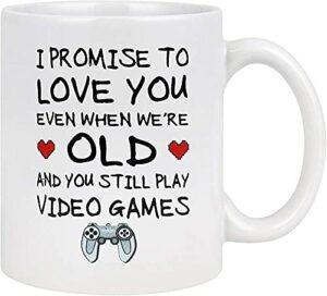 HUANGHHLL Je t'aime Je t'aime Si Tu ES Vieux Encore Jouer À des Jeux Vidéo Tasse À Café Saint Valentin Cadeau Drôle Gamer Cadeaux Ringard Mariage N-Café Tasse