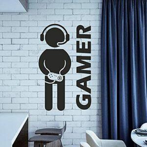 Jeu vidéo Gaming Gamer Sticker Art Vinyle Décor Autocollant Garçons Chambre Mur Porte Décoration Affiche Amovible Lettrage Stickers A7 58 × 56CM