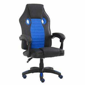 JIASEN Chaise de jeu vidéo ergonomique confortable, chaise pivotante de bureau, bleu