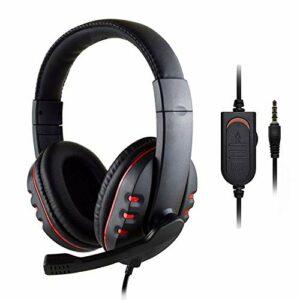 Kaxofang Casque Gaming HeadhRer avec câble de 3,5 mm et microphone – Contrôle du volume pour PC et ordinateur portable – Rouge