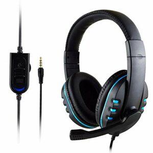 Kaxofang HeadhRer Casque de gaming avec câble 3,5 mm et micro avec contrôle du volume pour PC et ordinateur portable Bleu