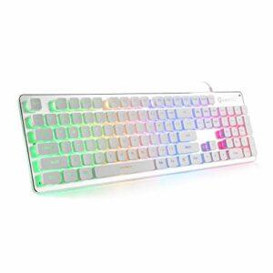 LANGTU L1 Membrane Clavier Gaming Rainbow LED Rétroéclairé USB PC et ordinateur portable Gamers Windows 104 Touches Anti-ghosting 24 touches 43.7*13.33*3.5cm blanc