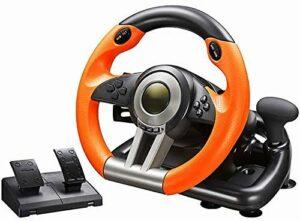 M I A Volant de course avec pédale réactive compatible avec X-One, PS4, Switch, PC Gaming Wheel