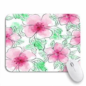 NA Adowyee Gaming Mouse Pad Coloré Motif Floral Fleur Rose sur Aquarelle Imitation Antidérapant Support en Caoutchouc Tapis De Souris D'ordinateur pour Ordinateurs Portables Tapis De Souris