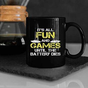 NA Jusqu'à ce Que la Batterie meure Bateau en Ligne Jeu Tasse à café drôle vidéo Gamer présent Tasse café Tasse thé Tasse personnalisé présent Tasse pour Hommes Femmes M8U321