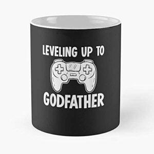 NA Novelty Leveling Up to Godfather Gaming Quote Meme Mug Classique, 11 oz.