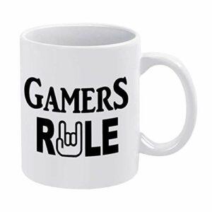 NA Tasse à café drôle, Tasse de Jeu vidéo Gamers Rule Gamer pour Pendaison de crémaillère Bureau Bar Anniversaire personnalisé Tasse, Tasse Meilleur Cadeau personnalisé à Votre ami Amant Famille